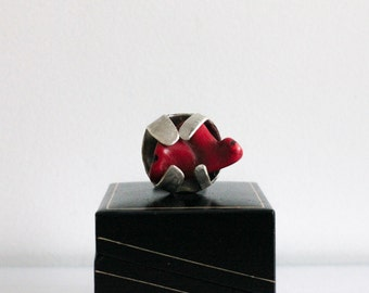 Silver and alpaca ring with red coral