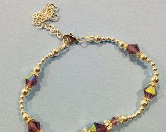 Crystal and Silver Bracelet - Amethyst
