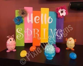 Hello Spring pallet sign| spring decor| seasonal sign