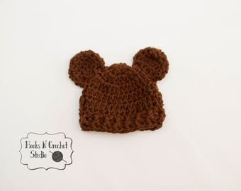 Preemie bear hat, preemie hat, newborn bear hat, newborn hat, newborn bear beanie, newborn beanie, baby crochet hat, crochet bear hat