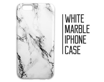 White Marble Phone Case for iPhone 7 Plus 6 6s 5 5s 5c SE + Samsung S6 S7 Black and White