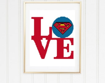 Superman  cross stitch pattern/superman pattern/easy cross stitch/superman stitch/superman logo/superman chart/ #04-001
