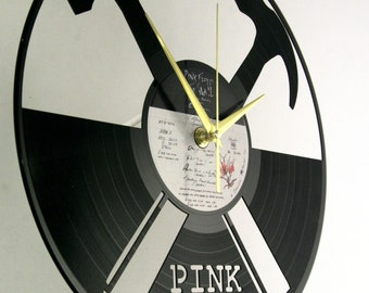 Pink Floyd vinyl record wall clock, ideal for home decor, unique gift present and hand made art, interior design for music fan, 016