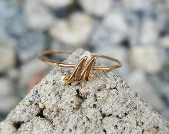 14k initial ring/hand writing initial ring/Script letter ring/personalize ring/M ring/Maria ring/May ring/Maya ring