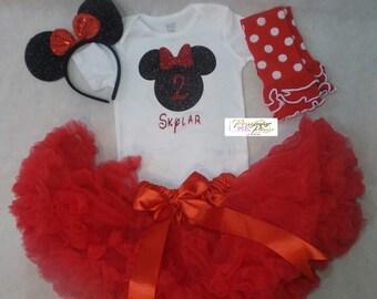 Minnie Mouse Birthday Outfit, Girls Birthday Outfit, Minnie Mouse Birthday Shirt, Minnie Mouse Birthday onesie ,Minnie Mouse Ears headband