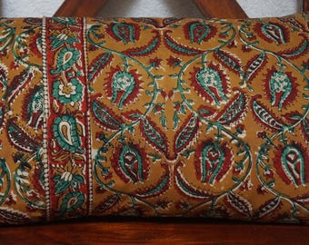 Golconda 2 Tan series: cover 30x50cm (12 x 20 inches) cushion, cotton Indian kalamkari floral ochre background, green and Red pattern.