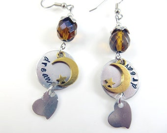 Hand stamped amber dream earrings