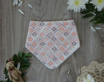 Bandana Bib with Ric Rac - Orange