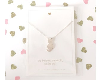 Cute Kitty Cat Necklace - Silver