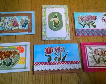 Blank Inside Set of 6 cards Roses and other flowers washi stamps handmade correspondent correspondance snail mail Greetings borders frame