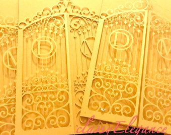 Customizable initials laser cut gatefold invitation