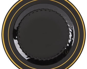 """50 PCS - 6"""" Black Plastic Disposable Plate With Gold Line Band, Wedding Supplies, Wedding, Wedding Decor, Plastic Plates, Party Supplies"""