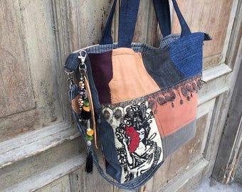 Bohemian shoulder bag /stylish hand bag/tote bag /gift for her /Bohemian beach bag /Gypsy festival bag /hobo bag /market bag / every day bag
