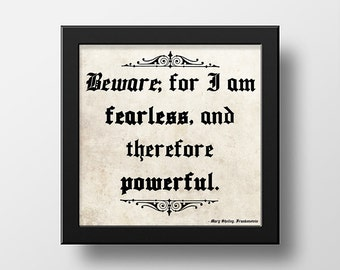 Mary Shelley Frankenstein Quote Wall Art Poster