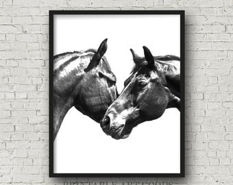 Black White Horses Printable Art, Horse Photography, Black White Minimalist Wall Decor Print, Wedding First Home Together, Digital Download