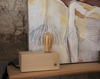Wood lamp, edison lamp, handmade lamp, table lamp, design lamp, vintage lamp. Berlin Lamp by Belight Barcelona