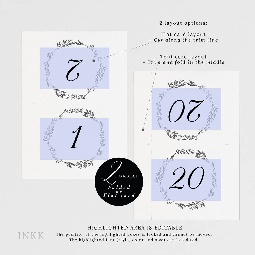4x6 table tent template - printable table number tent cards
