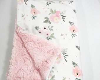 Minky Baby Blanket - Floral Baby Blanket - Blush Rose Blanket - Rose Baby Blanket - Watercolor Floral - Watercolor Roses - Pink Rose Blanket