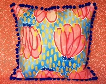 Red Pumpkin Flower Pom Pillow