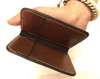 Vertical Wallet / 6 Pocket Vertical Wallet / Full Grain Wallet / Card Wallet / Leather Wallet / Handmade