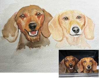 Custom 2 pets portrait - original watercolor painting from photo custom painting, couple OF PETS