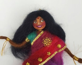 Wool Doll Indian Dancer, Needle Felted Asian Dancing Lady
