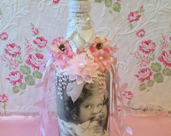Shabby Chic, Decorative Bottle, Glass Ornament, Decorative, Altered Bottle