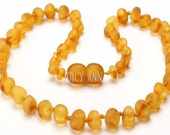 Child Authentic Amber - Baltic Amber Teething - Unpolished Raw Amber - Dark Amber - Child Amber - Teething Necklace - Honey Necklace