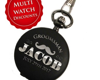 Personalized Pocket Watch, Black Pocket Watch, Engraved Pocket Watch, Groomsmen Gift, Mens Pocket Watch, Pocket Watch Personalized