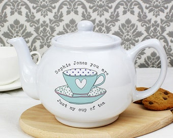 Personalised Vintage Tea Cup Teapot, Mothers Day, Sister, Nanna, Friend Gifts