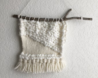 Braided snow- small sized woven wall hanging
