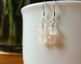 Handmade Simple Rose Quartz Dangle Earrings STERLING SILVER 925