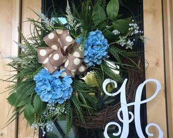 Blue Hydrangea Monogram Wreath,  Summer Wreath, Monogram Grapevine, Blue Flower Wreath