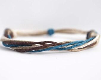 Custom Colors Stackable Hemp Cord Bracelet - Handmade Adjustable