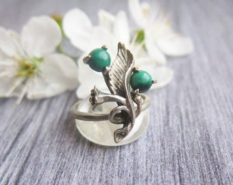 Mothers ring Floral ring Birthstone ring Vintage Silver rings Vintage rings Silver ring Malachite ring Vintage jewelry ring Ornate ring