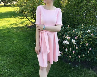 Her Business Lifestyle Dress with belt / pink, rose, elegant, classic, casual, kneelengths, half armlengths, Made in Germany, summerdress