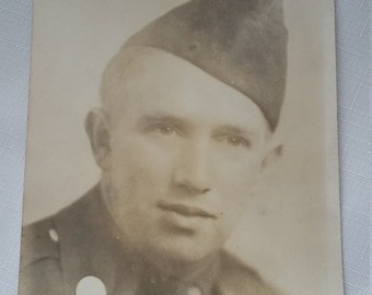 Vintage photo of a handsome military soldier