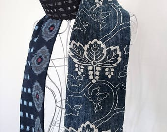 Vintage Japanese Indigo Aizome scarf - medium length