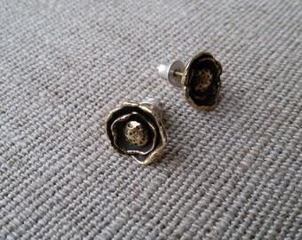 Brass earrings/Flower earrings