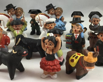 18 Vintage Minature Spanish Clay Figures