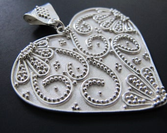 What the World needs- Heart Pendant- Hand Fabricated Argentium Sterling Silver Granulation