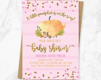 Fall baby shower invitation, Pumpkin baby shower invitation, Autumn baby shower invitation, Pumpkin baby shower invitation printable