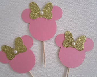 Minnie mouse cupcake toppers - Set of 12, Minnie Mouse Birthday Party Cupcake toppers