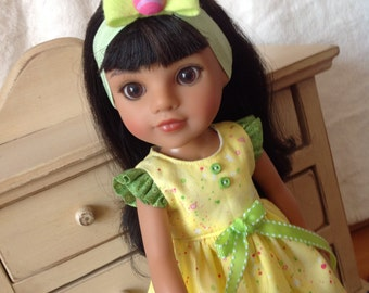 Adorable Yellow Easter dress with headband for Welllie Wishers, Hearts 4 Hearts