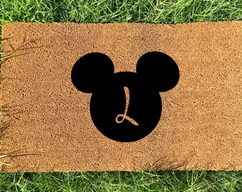 Personalized Disney doormat, mickey initial door mat, Letter L doormat,Wedding Gift, Anniversary Gift, Gifts for couples, Housewarming gift