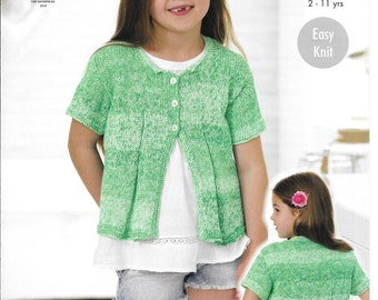 Knitting pattern for King Cole 4464 D.K. cardigan and top age 2~11 years 22~30ins