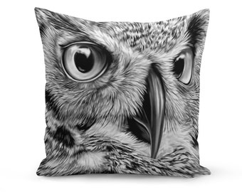Pillow Cover, Bird Pillow Cover, Owl Pillow Cover, Linen Pillow Cover, Owl Art Throw Pillow, Owl Face Pillow Cover, Wildlife Pillow Cover