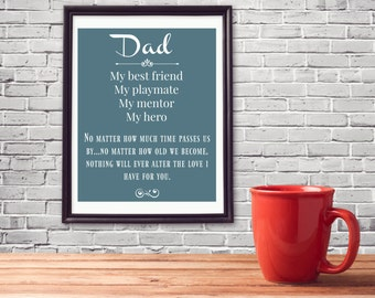 Dad - Best Friend, Prints, Digital Art, Printable, Wall Art, For Men, Dad Gift, Gifts for Him, Fathers Day Gift, Home Decor,Instant Download