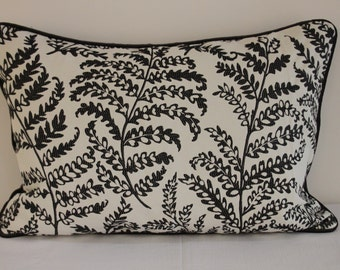 """Cushion Cover  16"""" x 24""""  Fabric is Wild Fern and Paris by Clarke and Clarke in Black and White"""