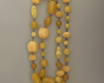 Vintage 1960's Butterscotch Lucite Beaded Necklace